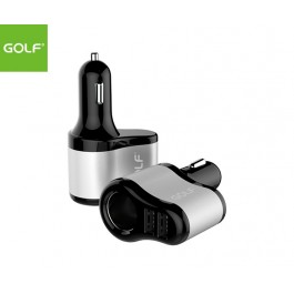 GOLF Dual USB Port Smart Car Charger with Lighter Socket Pass-through