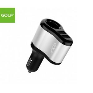 GOLF Dual USB Port Smart Car Charger with Lighter Socket Pass-through