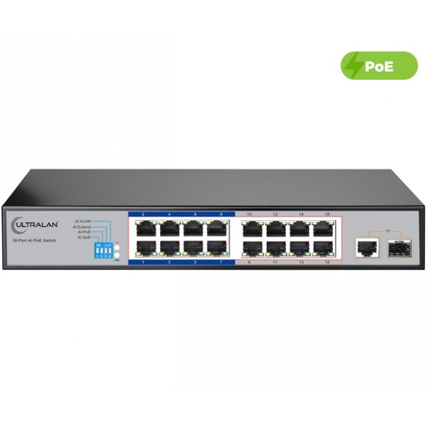 UltraLAN 16 Port 150W Fast Ethernet AI PoE Switch with 1 SFP/GE Uplink