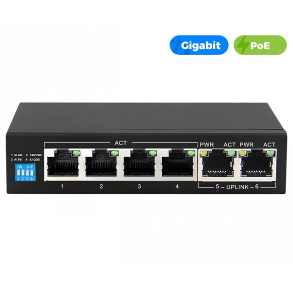 UltraLAN 4 Port 60W Gigabit Ethernet AI PoE Switch with 2 GE Uplink Ports